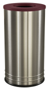 Ex-Cell Kaiser INT1528 T-8 SS BURX International Collection Stainless Steel Indoor Ash/Trash Receptacle with Burgundy Textured Top, 38cm Diameter x 70cm Height
