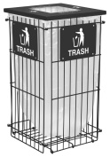 Ex-Cell Kaiser RGU-1836 T BLK Clean Grid Square Steel Outdoor Fully Collapsible Trash Receptacle, 170.3l Capacity, 50cm Length x 50cm Width x 100cm Height, Black