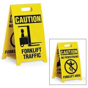 See All Reversible Floor Signs - Caution Forklift Traffic/No Pedestrians