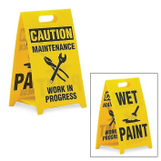 See All Reversible Floor Signs - Wet Paint/Caution Maintenance Work