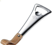 New - Tanner Stainless Steel & Tan Leather Bottle Opener - VAC903