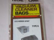 Vacuum Cleaner Bags Fits Hoover Spirit Type K -- New Old Stock -- Pkg of 2