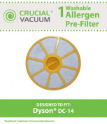 Dyson DC-14 Washable & Reusable Pre-filter, Replaces Dyson DC14 Pre-Motor filter Part # 905401-01 (90540101); Designed & Engineered by Crucial Vacuum