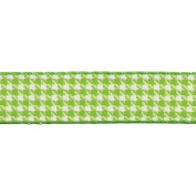 Houndstooth Woven Ribbon W/Nylon Edge 2.5cm - 1.3cm X25 Yards-Parrot Green