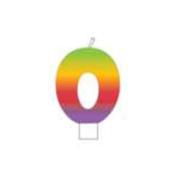 Rainbow Candle 1/Pkg-Numeral 0