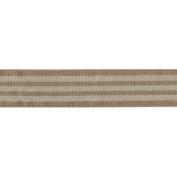 Solid Ribbon W/Woven Stripes 2.5cm - 1.3cm X25yd-Natural & White