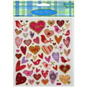 Multicoloured Stickers-Love Birds W/Hearts