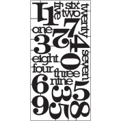 Numeric Alpha Parts by Tim Holtz Idea-ology, 23 Words and Numbers, 15cm x 30cm Sheet, Black, TH93074