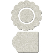 Die-Cut Grey Chipboard Embellishments-Flower Shape, Centre & Tag 12/Pkg