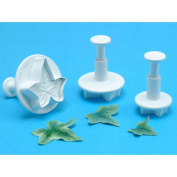 Plunger Cutters 3/Pkg-Veined Ivy Leaf