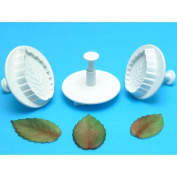 Plunger Cutters 3/Pkg-Veined Rose Leaf