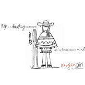 Unmounted Red Rubber Stamps 11cm x 11cm -Debby Girl