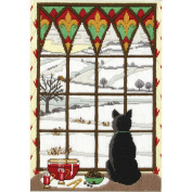 Winter Through The Window Long Stitch Kit-20cm x 15cm Stitched In Cotton Floss
