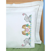 Children's Stamped Pillowcase With White Perle Edge 1/Pkg-Noah's Ark