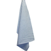 White Plain Weave Striped Towel-Navy