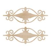 Wood Flourishes 2/Pkg-Fancy Mini Plaques