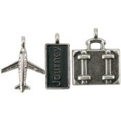 Travel Metal Charms 2.5cm X.13cm To 2.5cm x 3.2cm 3/Pkg-Journey Tag, Suitcase & Aeroplane
