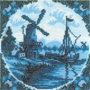 Antique Dutch Tiles Windmill II Counted Cross Stitch Kit-10cm - 0.6cm x 11cm 14 Count