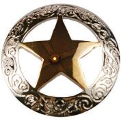 Concho 2.5cm Silver/Gold 1/Pkg-Engraved Star