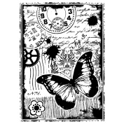 Crafty Individuals Unmounted Rubber Stamp 12cm x 18cm Pkg-Steampunk Butterfly