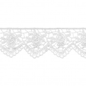 Scalloped Rose Venice Lace 2.5cm - 0.6cm Wide 15 Yards-White