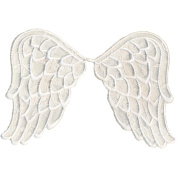 Wrights Especially Baby Iron-On Appliques-White Angel Wings 15cm x 8.9cm