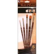Studio Elements Short Handle Golden Taklon Brush Set-5/Pkg
