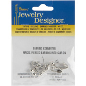 Earring Converter Pierced To Clip 4/Pkg-Nickel