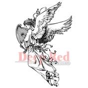 Deep Red Cling Stamp 5.1cm x 7.6cm -Angel W/Harp
