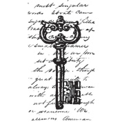Mounted Rubber Stamp 3.8cm x 6.4cm -Collage Key