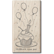 Mounted Rubber Stamp 6.4cm x 6.4cm -Sketchy Cupcake