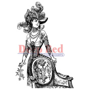 Deep Red Cling Stamp 7.6cm x 10cm -Derby Victorian Girl