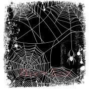 Deep Red Cling Stamp 7.6cm x 7.6cm -Spider Web Background