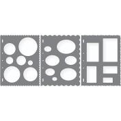 Shape Template Set 22cm x 28cm 3/Pkg-Circles, Ovals & Rectangles