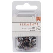 Elements Mini Brads 100/Pkg-Round/Metallic
