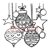 Deep Red Cling Stamp 7.6cm x 7.6cm -Christmas Stars & Balls