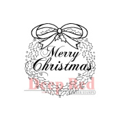 Deep Red Cling Stamp 5.1cm x 5.1cm -Christmas Wreath W/Sentiment