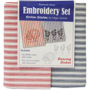 Dancing Dishes Kitchen Stitches Embroidery Set-Cream W/Red & Cream W/Green Stripe