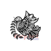 Deep Red Cling Stamp 5.1cm x 5.1cm -Dove Zentangle