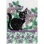 Lilac Floral Cat Counted Cross Stitch Kit
