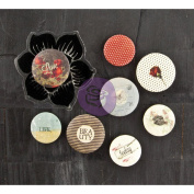 Stationer's Desk Flair Buttons With 5.1cm x 5.1cm Clear Stamp-(4) .190cm & (4) 2.5cm
