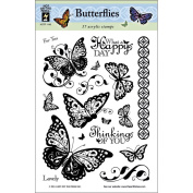Hot Off The Press Acrylic Stamps 15cm x 20cm Sheet-Butterflies