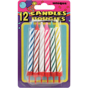 Birthday Candles W/Holders 8.3cm 12/Pkg-Assorted Colour Spirals