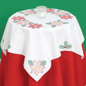 Stamped White Perle Edge Table Topper 90cm x 90cm -Poinsettias