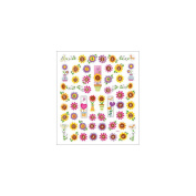 Multicoloured Stickers-Flowers W/Numbers