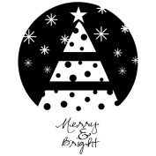 Itty Bitty Unmounted Rubber Stamp-Merry & Bright