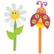 Foam Kit - Makes 2-Daisies/Ladybugs Puppets On A Stick