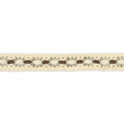 American Crafts 1.9cm Crocheted Lace Ribbon, 2-Yard Spool, Vanilla and Chestnut