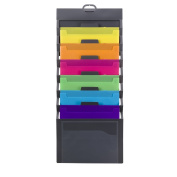 Smead Cascading Vertical Wall Organiser, 6 Pockets, Poly, Grey with Bright Colour Pockets