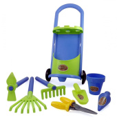 Garden Cart Gardening Tools for Kids with Rake Shovel and Bucket Set
